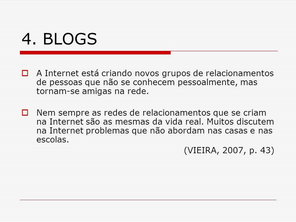 4. BLOGS A Internet está criando novos grupos de relacionamentos de pessoas que não se conhecem pessoalmente, mas tornam-se amigas na rede. Nem sempre