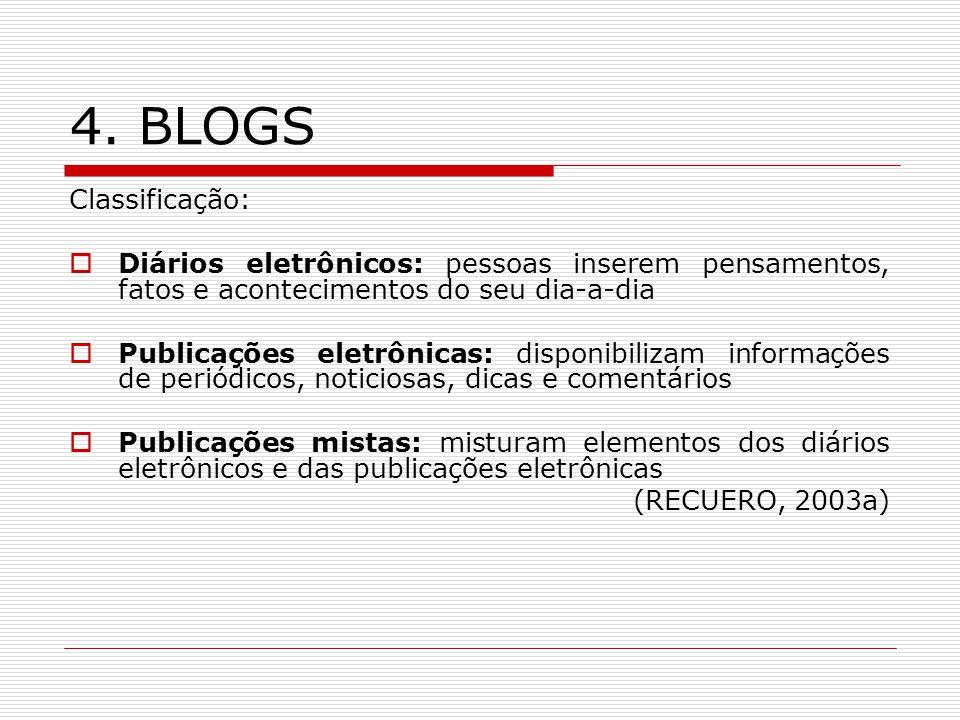 4. BLOGS Classificação: Diários eletrônicos: pessoas inserem pensamentos, fatos e acontecimentos do seu dia-a-dia Publicações eletrônicas: disponibili