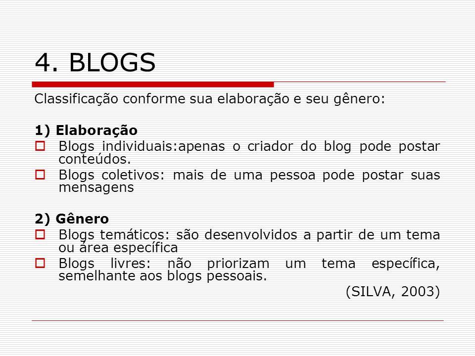 4. BLOGS Classificação conforme sua elaboração e seu gênero: 1) Elaboração Blogs individuais:apenas o criador do blog pode postar conteúdos. Blogs col
