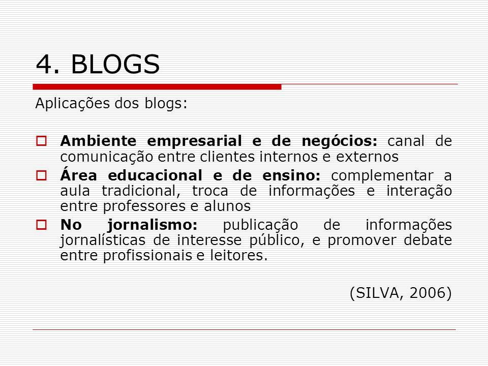 4. BLOGS Aplicações dos blogs: Ambiente empresarial e de negócios: canal de comunicação entre clientes internos e externos Área educacional e de ensin