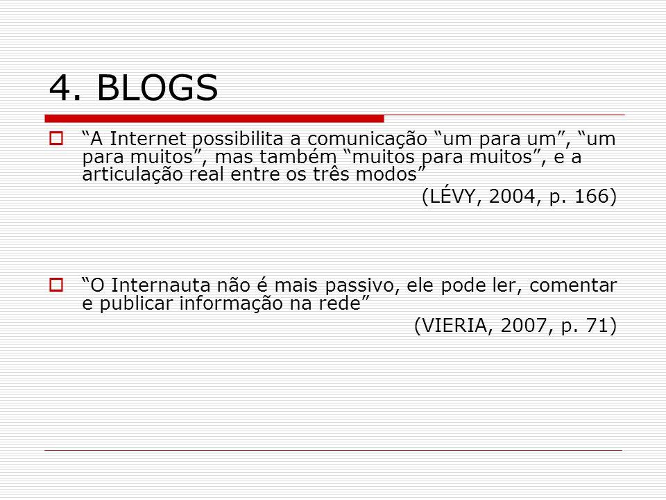 4. BLOGS A Internet possibilita a comunicação um para um, um para muitos, mas também muitos para muitos, e a articulação real entre os três modos (LÉV