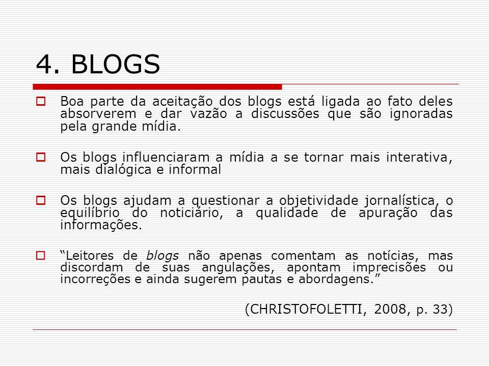 4. BLOGS Boa parte da aceitação dos blogs está ligada ao fato deles absorverem e dar vazão a discussões que são ignoradas pela grande mídia. Os blogs