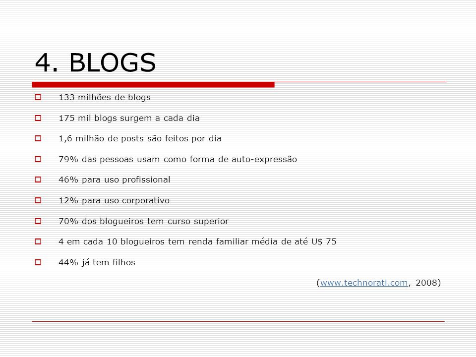 4. BLOGS 133 milhões de blogs 175 mil blogs surgem a cada dia 1,6 milhão de posts são feitos por dia 79% das pessoas usam como forma de auto-expressão