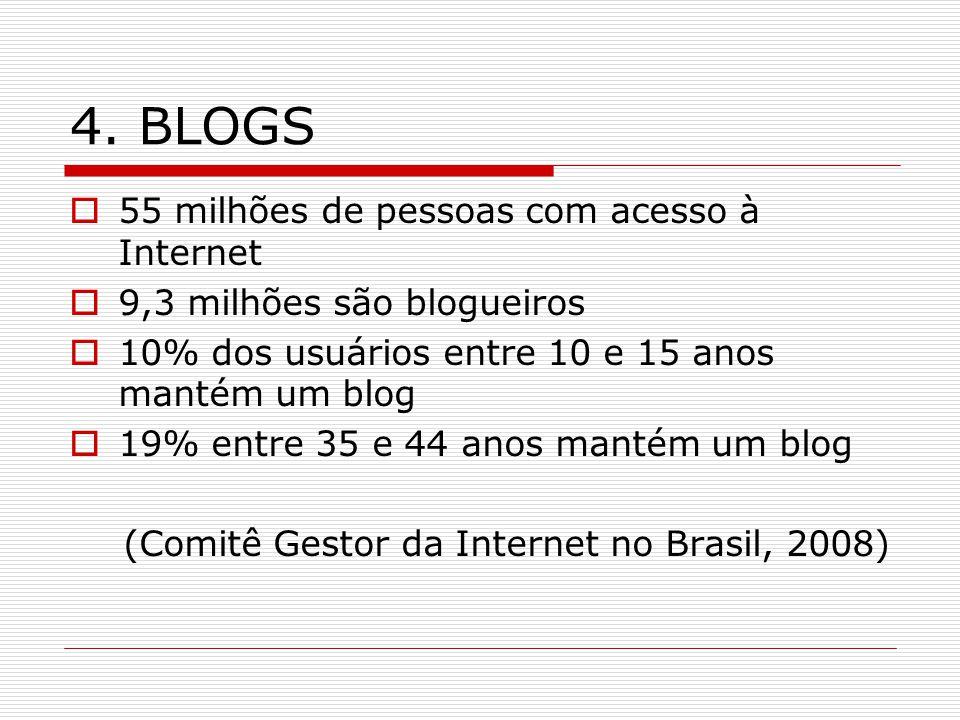 4. BLOGS 55 milhões de pessoas com acesso à Internet 9,3 milhões são blogueiros 10% dos usuários entre 10 e 15 anos mantém um blog 19% entre 35 e 44 a