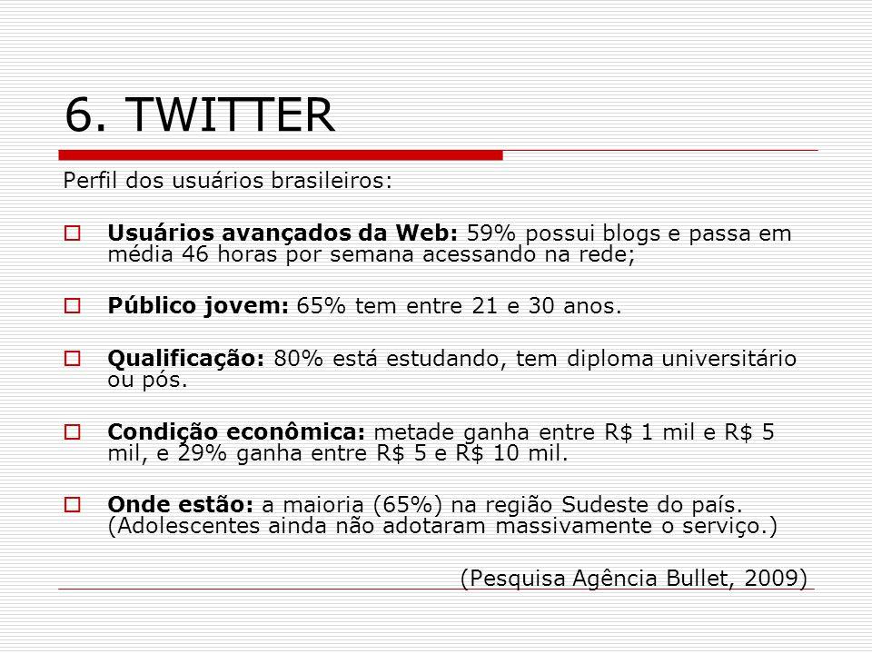 6. TWITTER Perfil dos usuários brasileiros: Usuários avançados da Web: 59% possui blogs e passa em média 46 horas por semana acessando na rede; Públic