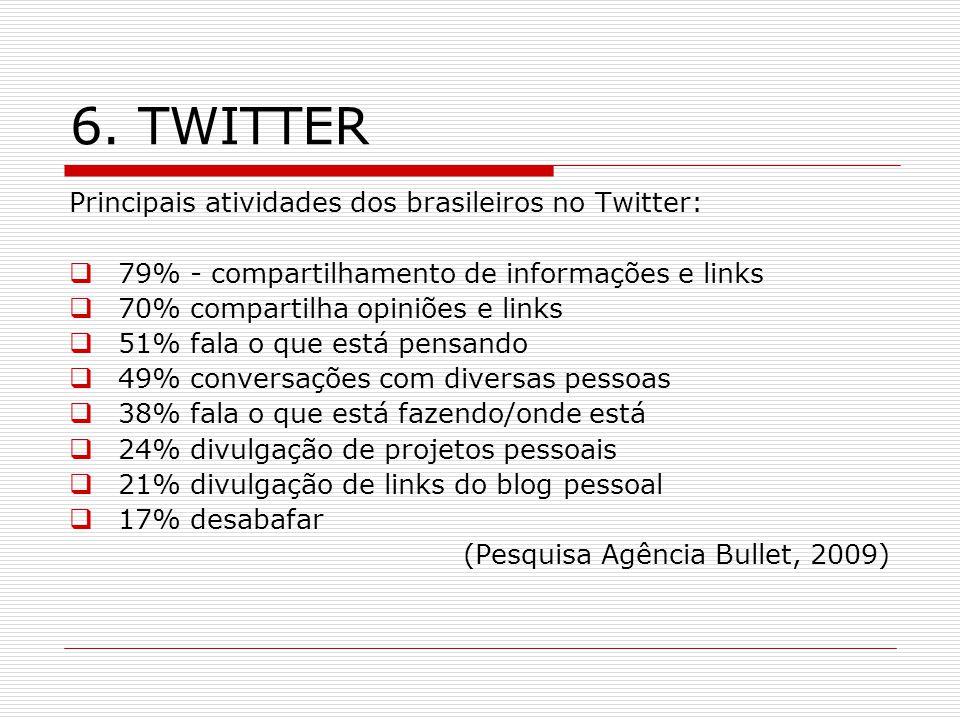 6. TWITTER Principais atividades dos brasileiros no Twitter: 79% - compartilhamento de informações e links 70% compartilha opiniões e links 51% fala o