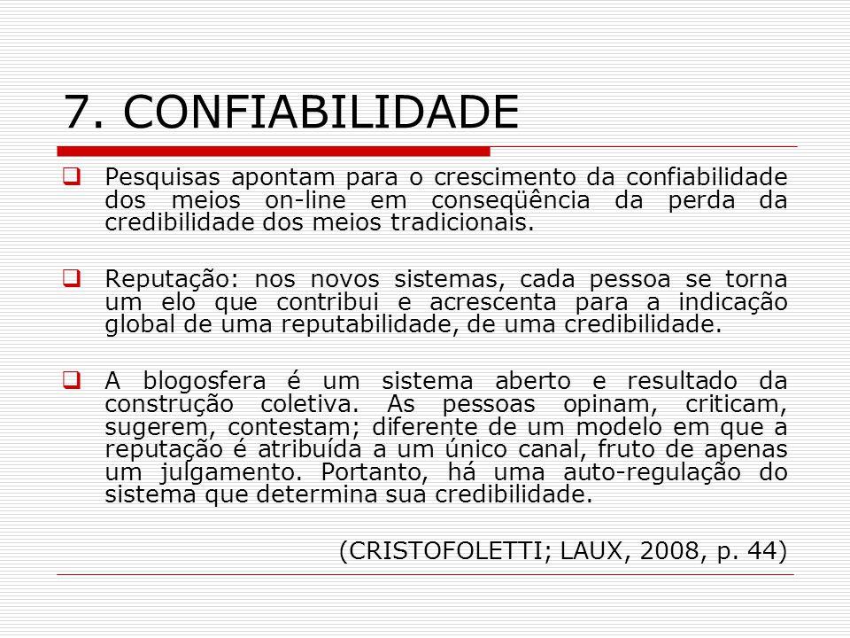 7. CONFIABILIDADE Pesquisas apontam para o crescimento da confiabilidade dos meios on-line em conseqüência da perda da credibilidade dos meios tradici