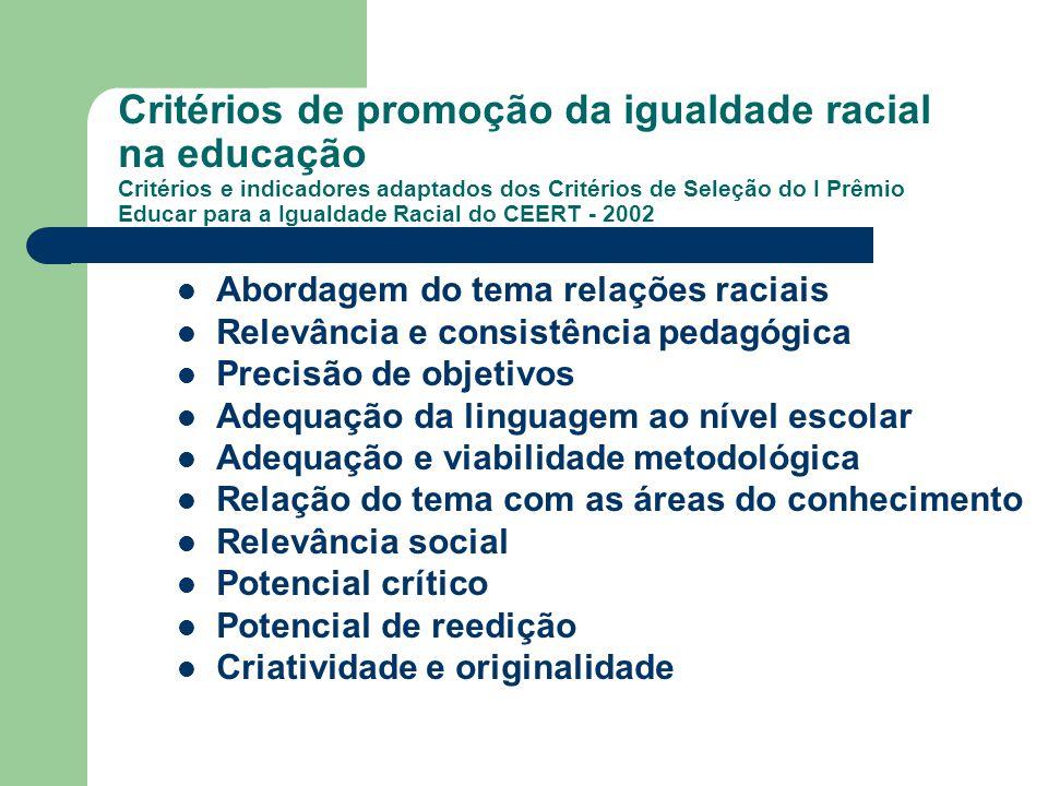 Critérios de promoção da igualdade racial na educação Critérios e indicadores adaptados dos Critérios de Seleção do I Prêmio Educar para a Igualdade R