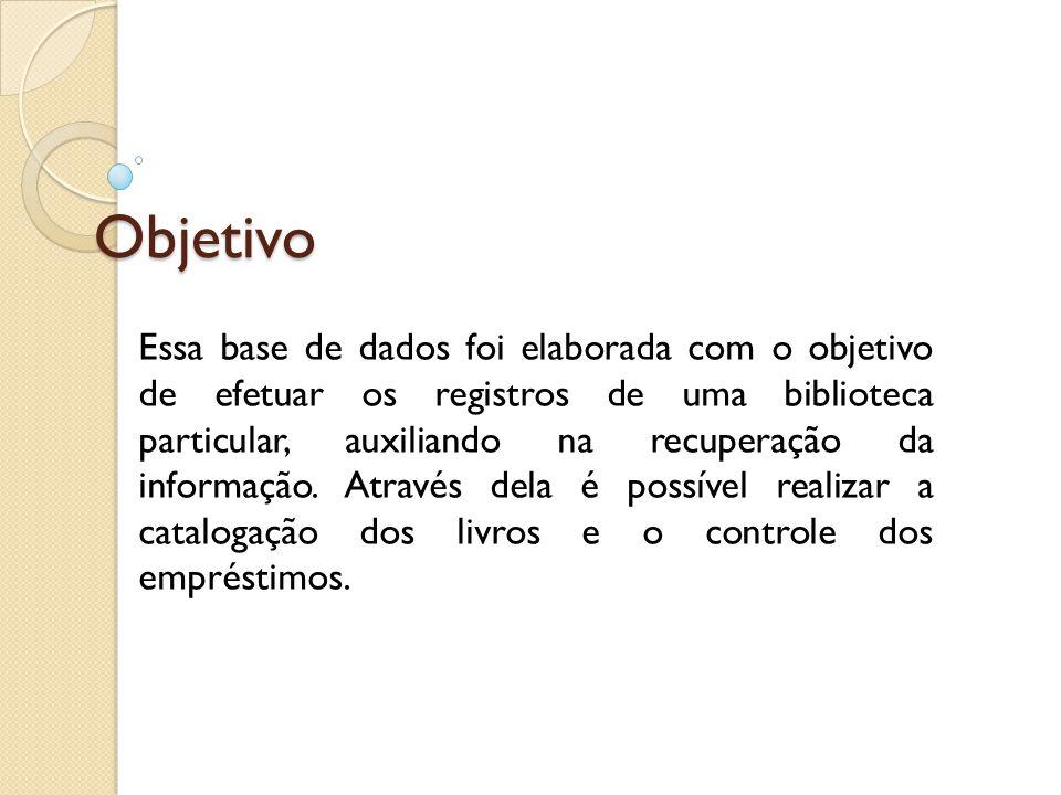 Objetivo Essa base de dados foi elaborada com o objetivo de efetuar os registros de uma biblioteca particular, auxiliando na recuperação da informação