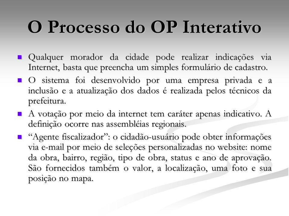 O Processo do OP Interativo Qualquer morador da cidade pode realizar indicações via Internet, basta que preencha um simples formulário de cadastro. Qu