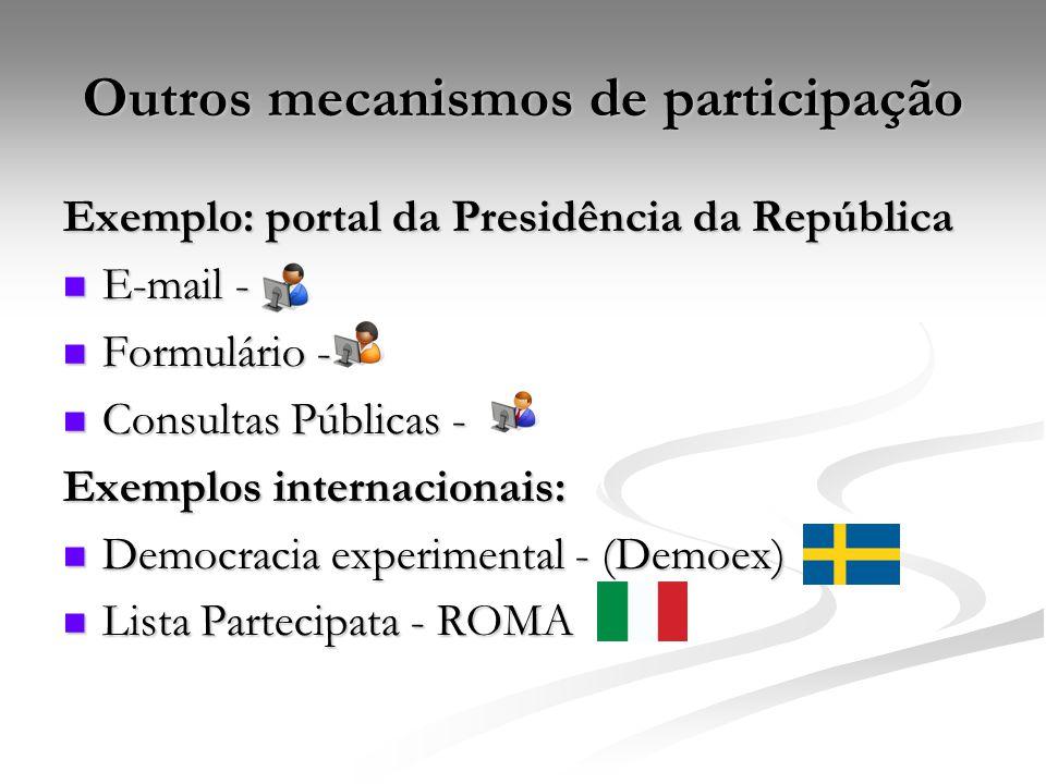 Outros mecanismos de participação Exemplo: portal da Presidência da República E-mail - E-mail - Formulário - Formulário - Consultas Públicas - Consult