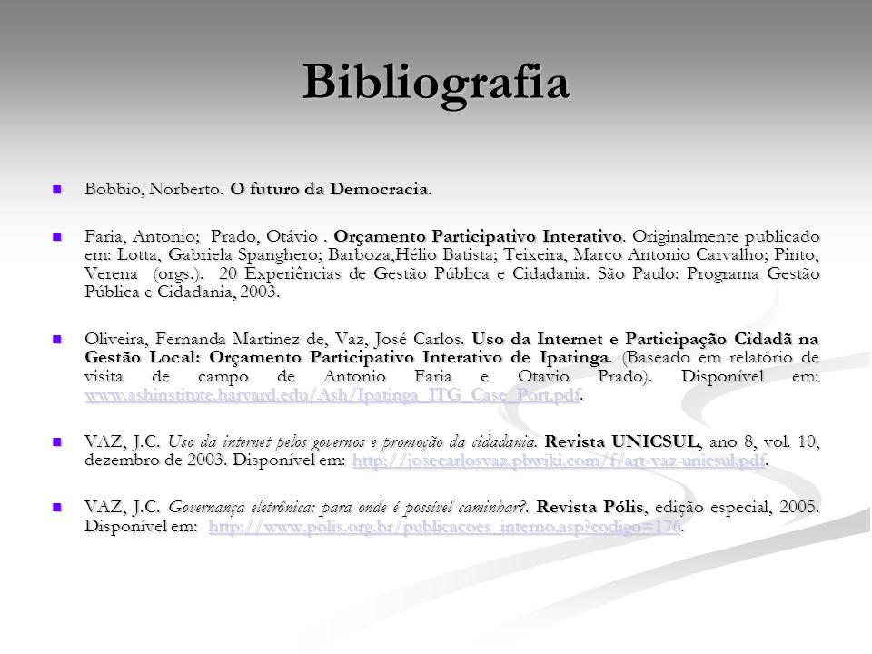 Bibliografia Bobbio, Norberto. O futuro da Democracia. Bobbio, Norberto. O futuro da Democracia. Faria, Antonio; Prado, Otávio. Orçamento Participativ