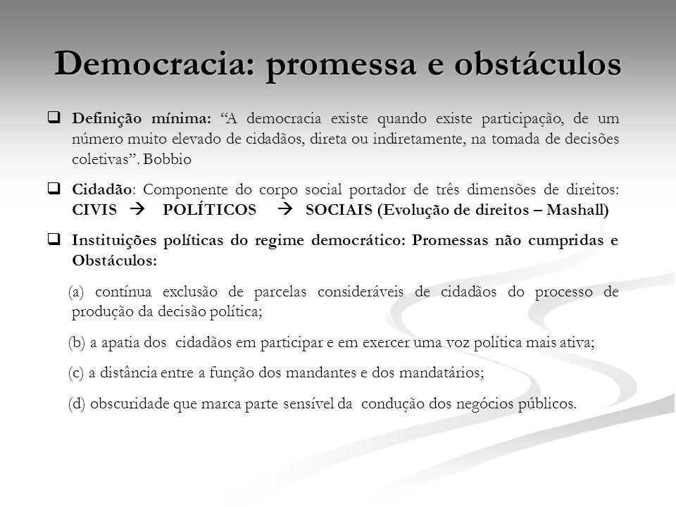 Democracia: promessa e obstáculos Definição mínima: A democracia existe quando existe participação, de um número muito elevado de cidadãos, direta ou