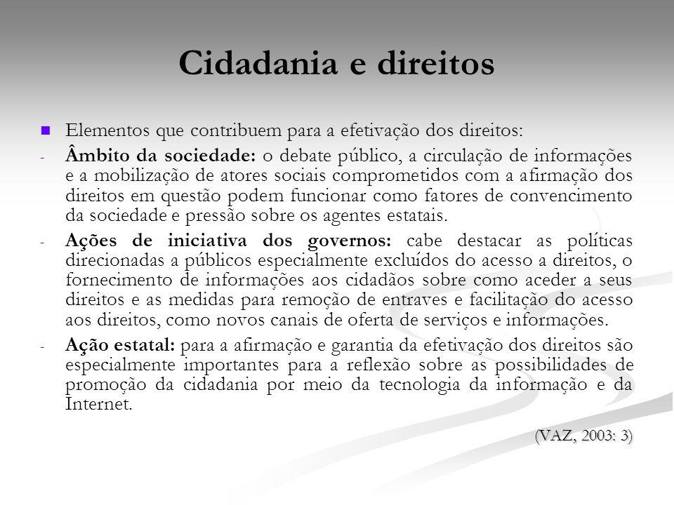 Cidadania e direitos Elementos que contribuem para a efetivação dos direitos: - - Âmbito da sociedade: o debate público, a circulação de informações e