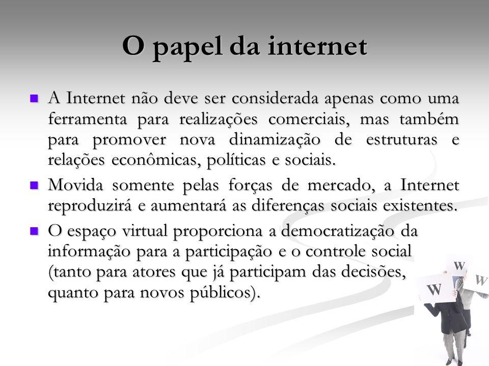 O papel da internet A Internet não deve ser considerada apenas como uma ferramenta para realizações comerciais, mas também para promover nova dinamiza