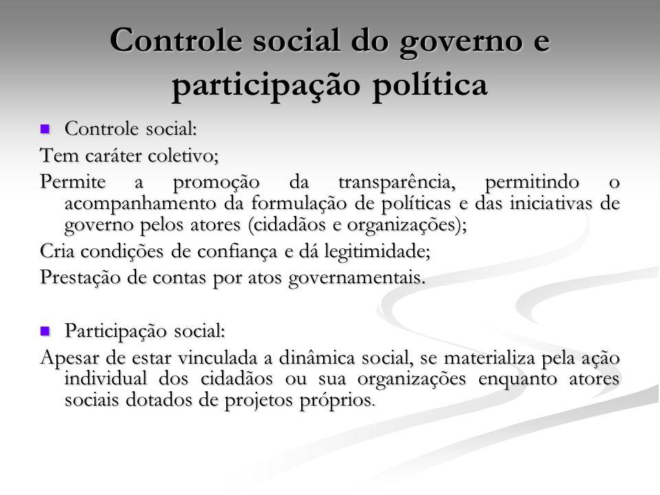 Controle social do governo e participação política Controle social: Controle social: Tem caráter coletivo; Permite a promoção da transparência, permit