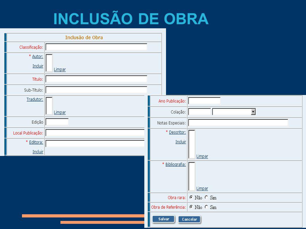 INCLUSÃO DE OBRA