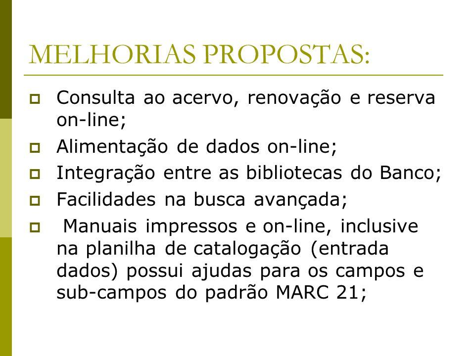 MELHORIAS PROPOSTAS: Consulta ao acervo, renovação e reserva on-line; Alimentação de dados on-line; Integração entre as bibliotecas do Banco; Facilida