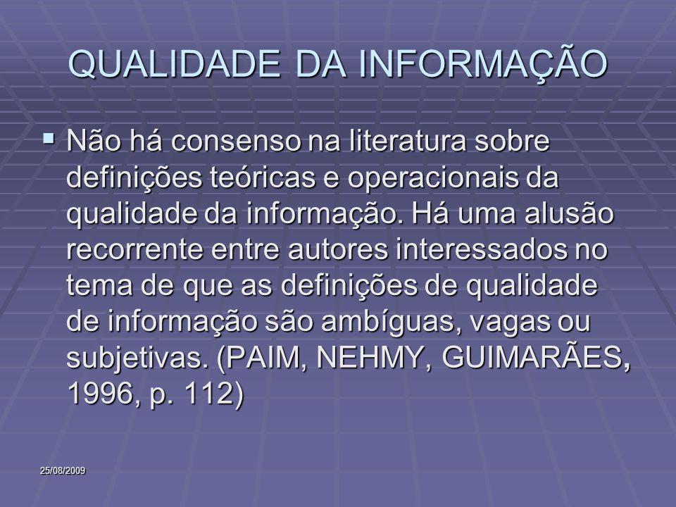 25/08/2009 QUALIDADE DA INFORMAÇÃO Não há consenso na literatura sobre definições teóricas e operacionais da qualidade da informação. Há uma alusão re