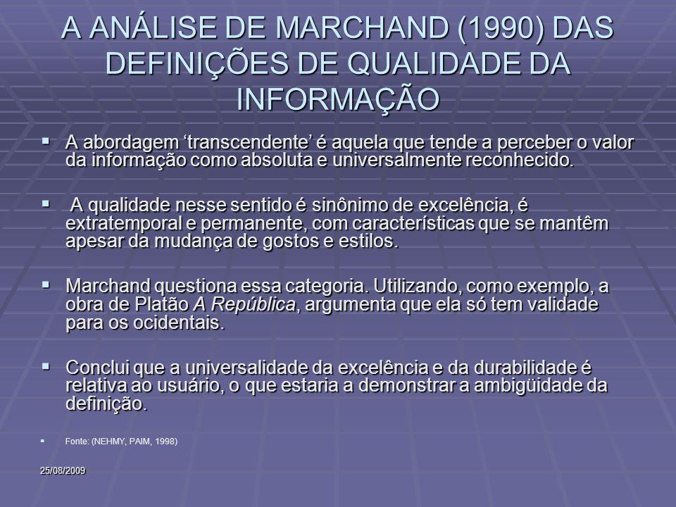 25/08/2009 A ANÁLISE DE MARCHAND (1990) DAS DEFINIÇÕES DE QUALIDADE DA INFORMAÇÃO A abordagem transcendente é aquela que tende a perceber o valor da informação como absoluta e universalmente reconhecido.