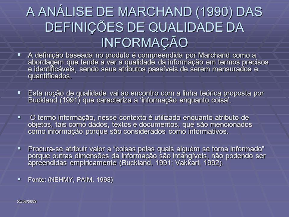 25/08/2009 A ANÁLISE DE MARCHAND (1990) DAS DEFINIÇÕES DE QUALIDADE DA INFORMAÇÃO A definição baseada no produto é compreendida por Marchand como a ab