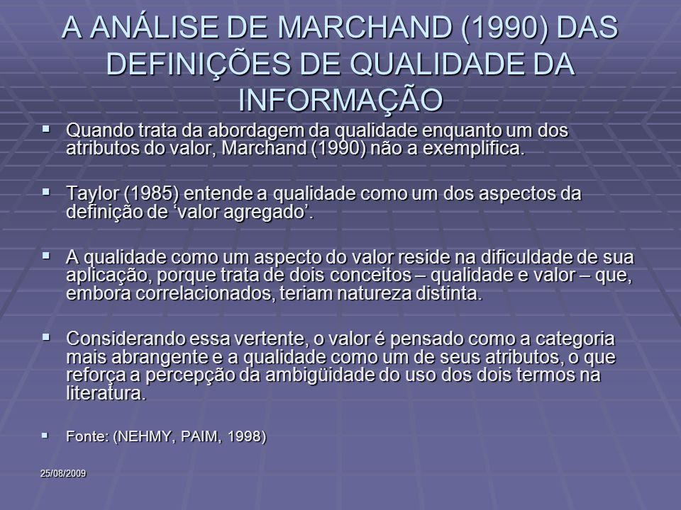 25/08/2009 A ANÁLISE DE MARCHAND (1990) DAS DEFINIÇÕES DE QUALIDADE DA INFORMAÇÃO Quando trata da abordagem da qualidade enquanto um dos atributos do valor, Marchand (1990) não a exemplifica.