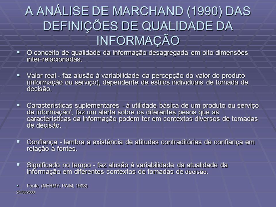 25/08/2009 A ANÁLISE DE MARCHAND (1990) DAS DEFINIÇÕES DE QUALIDADE DA INFORMAÇÃO O conceito de qualidade da informação desagregada em oito dimensões