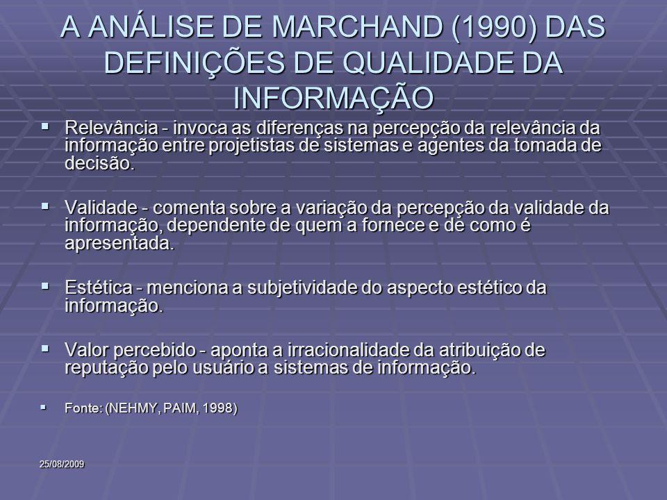 25/08/2009 A ANÁLISE DE MARCHAND (1990) DAS DEFINIÇÕES DE QUALIDADE DA INFORMAÇÃO Relevância - invoca as diferenças na percepção da relevância da informação entre projetistas de sistemas e agentes da tomada de decisão.