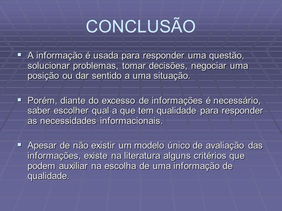 CONCLUSÃO A informação é usada para responder uma questão, solucionar problemas, tomar decisões, negociar uma posição ou dar sentido a uma situação. A