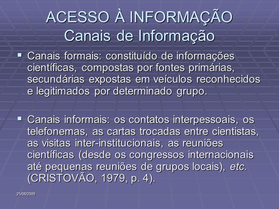 25/08/2009 ACESSO À INFORMAÇÃO Canais de Informação Canais formais: constituído de informações científicas, compostas por fontes primárias, secundária