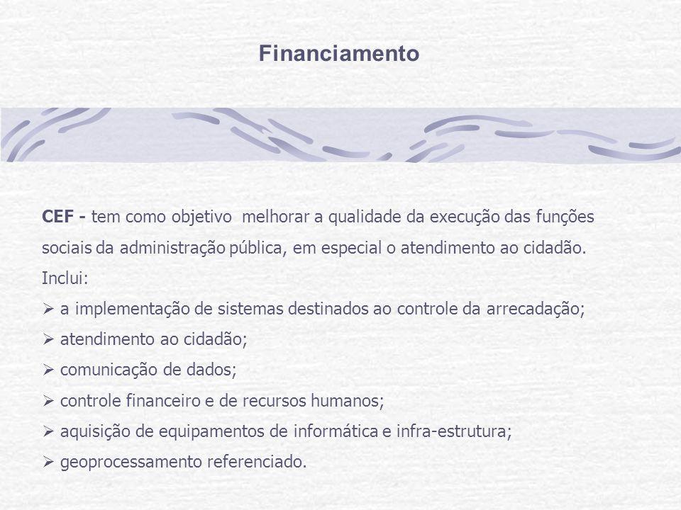 Financiamento CEF - tem como objetivo melhorar a qualidade da execução das funções sociais da administração pública, em especial o atendimento ao cidadão.