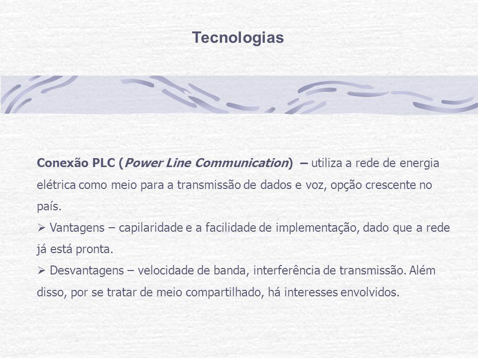 Tecnologias Conexão PLC (Power Line Communication) – utiliza a rede de energia elétrica como meio para a transmissão de dados e voz, opção crescente no país.