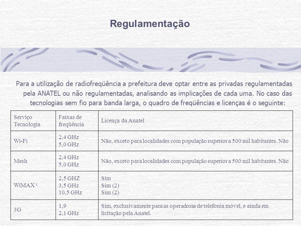 Regulamentação Para a utilização de radiofreqüência a prefeitura deve optar entre as privadas regulamentadas pela ANATEL ou não regulamentadas, analisando as implicações de cada uma.