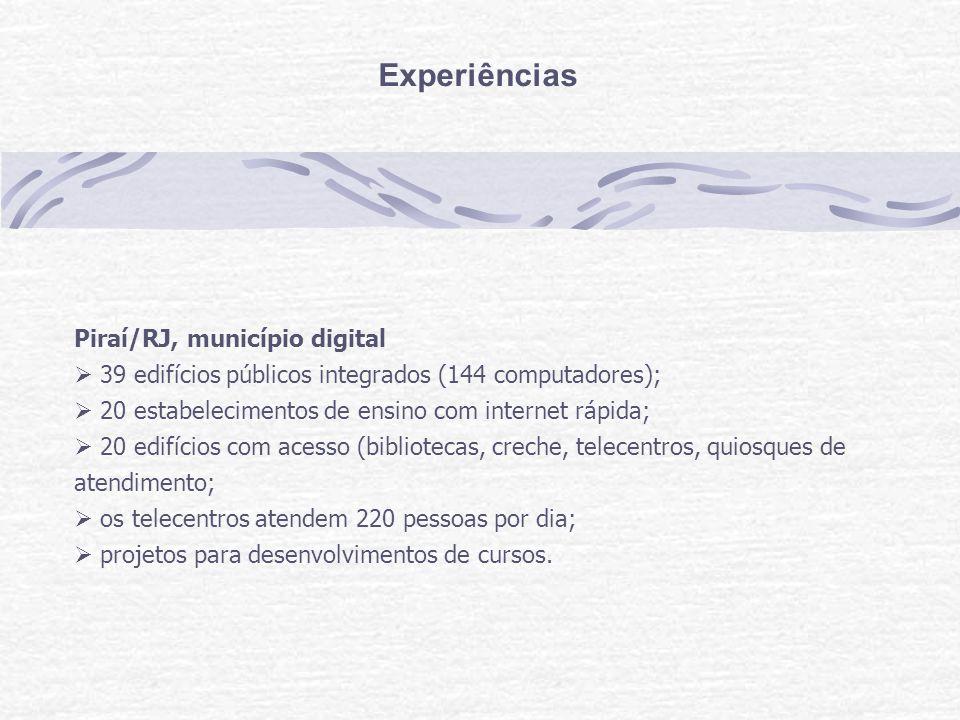 Experiências Piraí/RJ, município digital 39 edifícios públicos integrados (144 computadores); 20 estabelecimentos de ensino com internet rápida; 20 edifícios com acesso (bibliotecas, creche, telecentros, quiosques de atendimento; os telecentros atendem 220 pessoas por dia; projetos para desenvolvimentos de cursos.