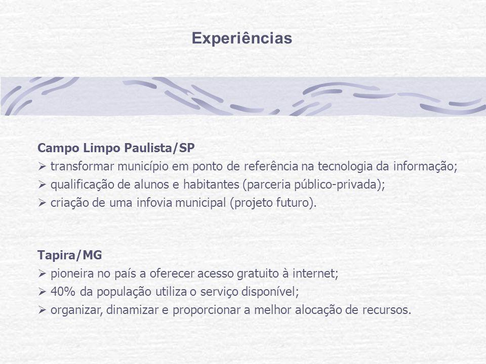 Experiências Campo Limpo Paulista/SP transformar município em ponto de referência na tecnologia da informação; qualificação de alunos e habitantes (parceria público-privada); criação de uma infovia municipal (projeto futuro).