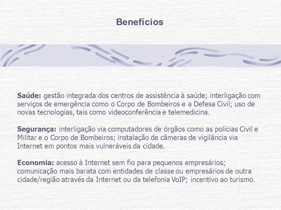 Benefícios Saúde: gestão integrada dos centros de assistência à saúde; interligação com serviços de emergência como o Corpo de Bombeiros e a Defesa Civil; uso de novas tecnologias, tais como videoconferência e telemedicina.