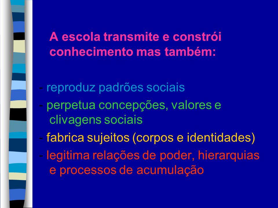A escola transmite e constrói conhecimento mas também: - reproduz padrões sociais - perpetua concepções, valores e clivagens sociais - fabrica sujeito