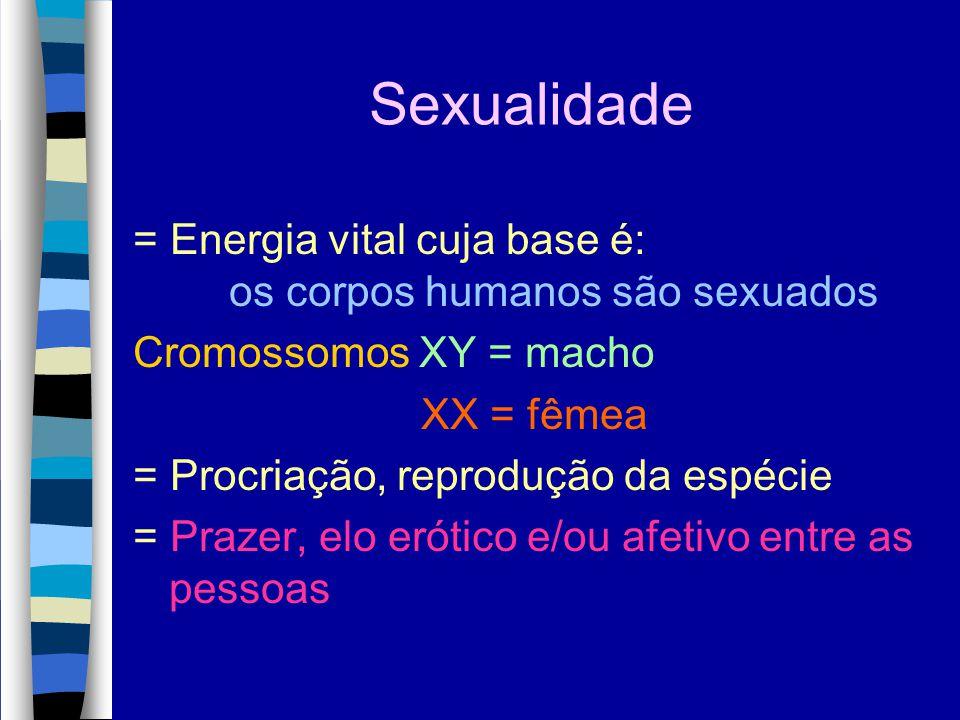 Sexualidade = Energia vital cuja base é: os corpos humanos são sexuados Cromossomos XY = macho XX = fêmea = Procriação, reprodução da espécie = Prazer
