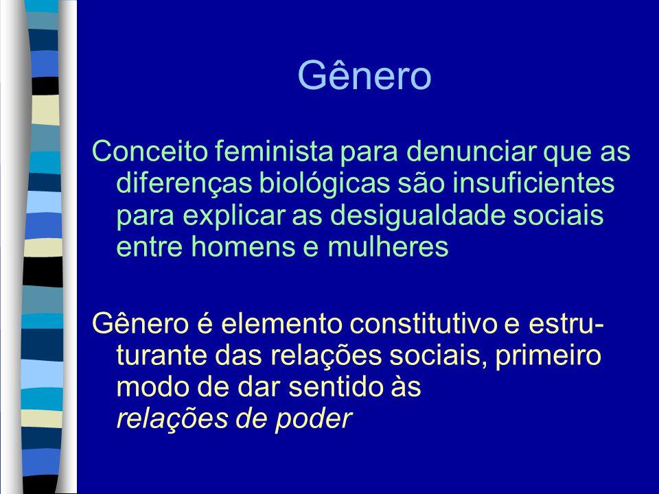 Gênero Conceito feminista para denunciar que as diferenças biológicas são insuficientes para explicar as desigualdade sociais entre homens e mulheres