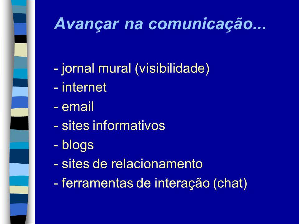 - jornal mural (visibilidade) - internet - email - sites informativos - blogs - sites de relacionamento - ferramentas de interação (chat) Avançar na c