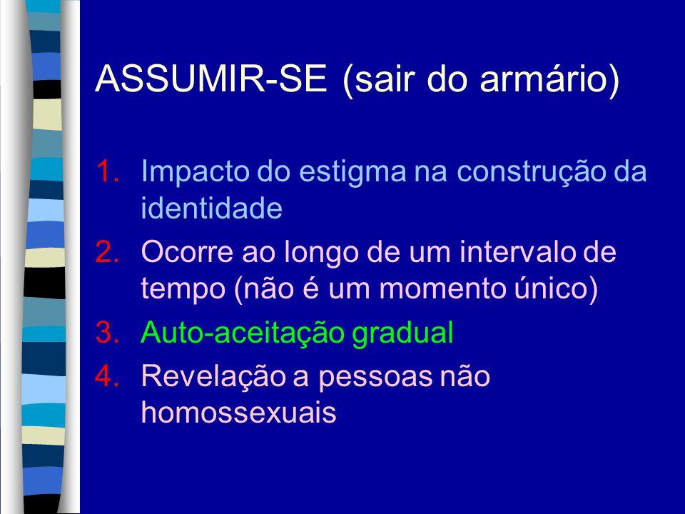 ASSUMIR-SE (sair do armário) 1.Impacto do estigma na construção da identidade 2.Ocorre ao longo de um intervalo de tempo (não é um momento único) 3.Au