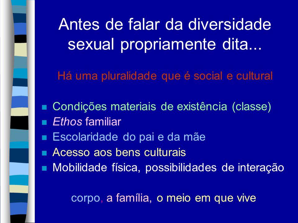 Antes de falar da diversidade sexual propriamente dita... Há uma pluralidade que é social e cultural n Condições materiais de existência (classe) n Et