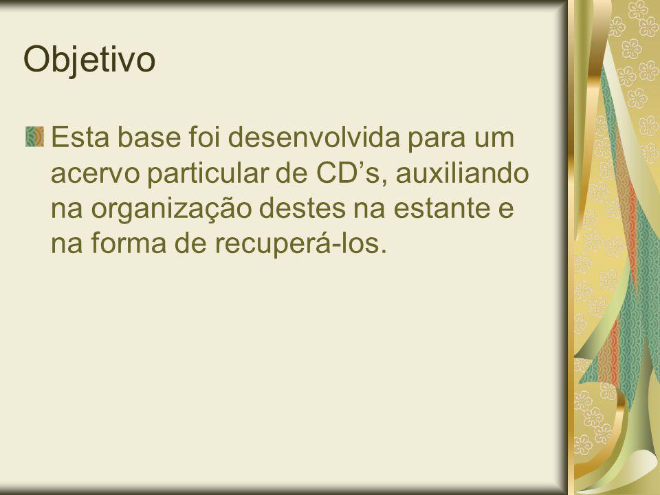 Objetivo Esta base foi desenvolvida para um acervo particular de CDs, auxiliando na organização destes na estante e na forma de recuperá-los.