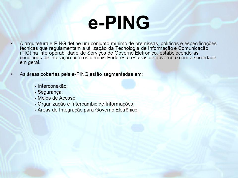 e-PING A arquitetura e-PING define um conjunto mínimo de premissas, políticas e especificações técnicas que regulamentam a utilização da Tecnologia de