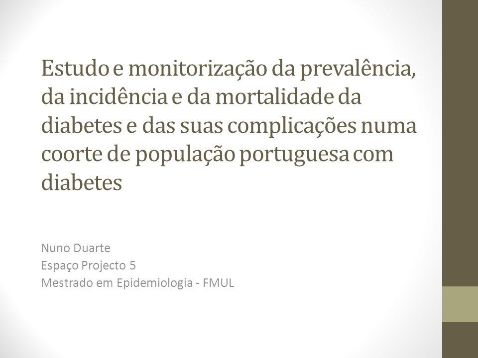 Estudo e monitorização da prevalência, da incidência e da mortalidade da diabetes e das suas complicações numa coorte de população portuguesa com diabetes Nuno Duarte Espaço Projecto 5 Mestrado em Epidemiologia - FMUL