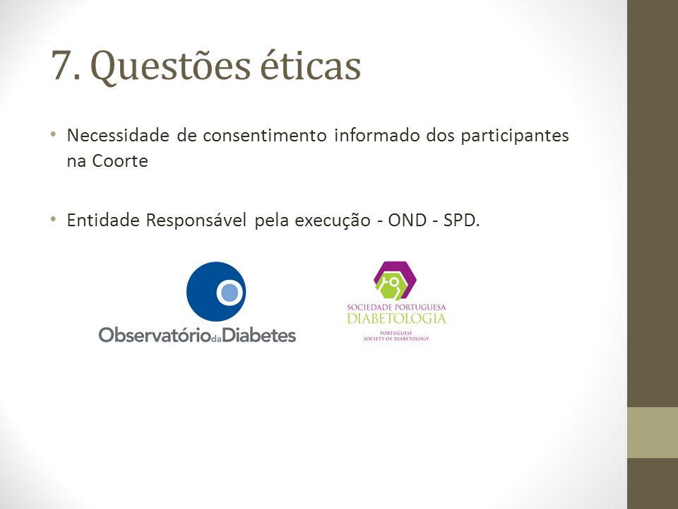7. Questões éticas Necessidade de consentimento informado dos participantes na Coorte Entidade Responsável pela execução - OND - SPD.