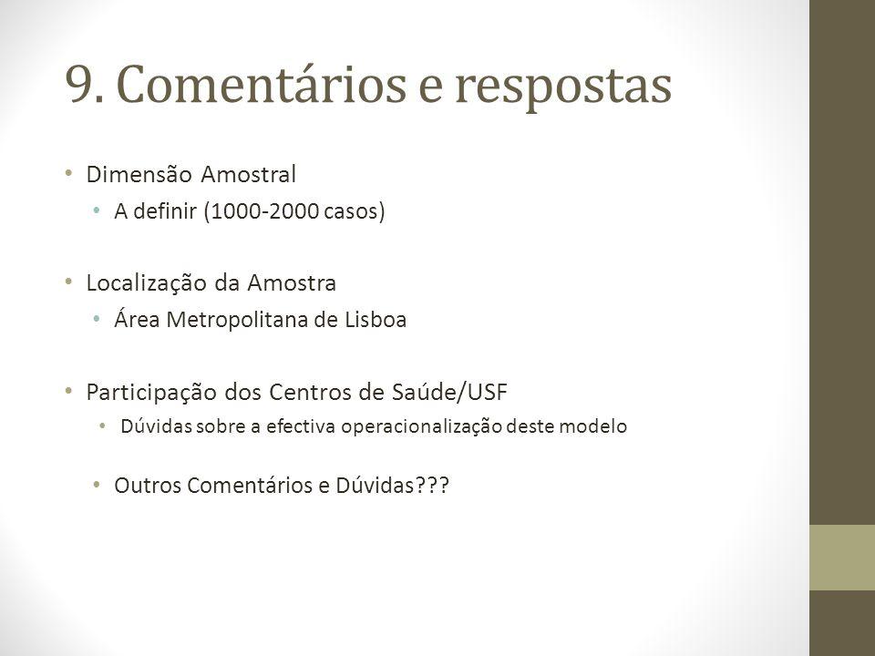 Dimensão Amostral A definir (1000-2000 casos) Localização da Amostra Área Metropolitana de Lisboa Participação dos Centros de Saúde/USF Dúvidas sobre a efectiva operacionalização deste modelo Outros Comentários e Dúvidas