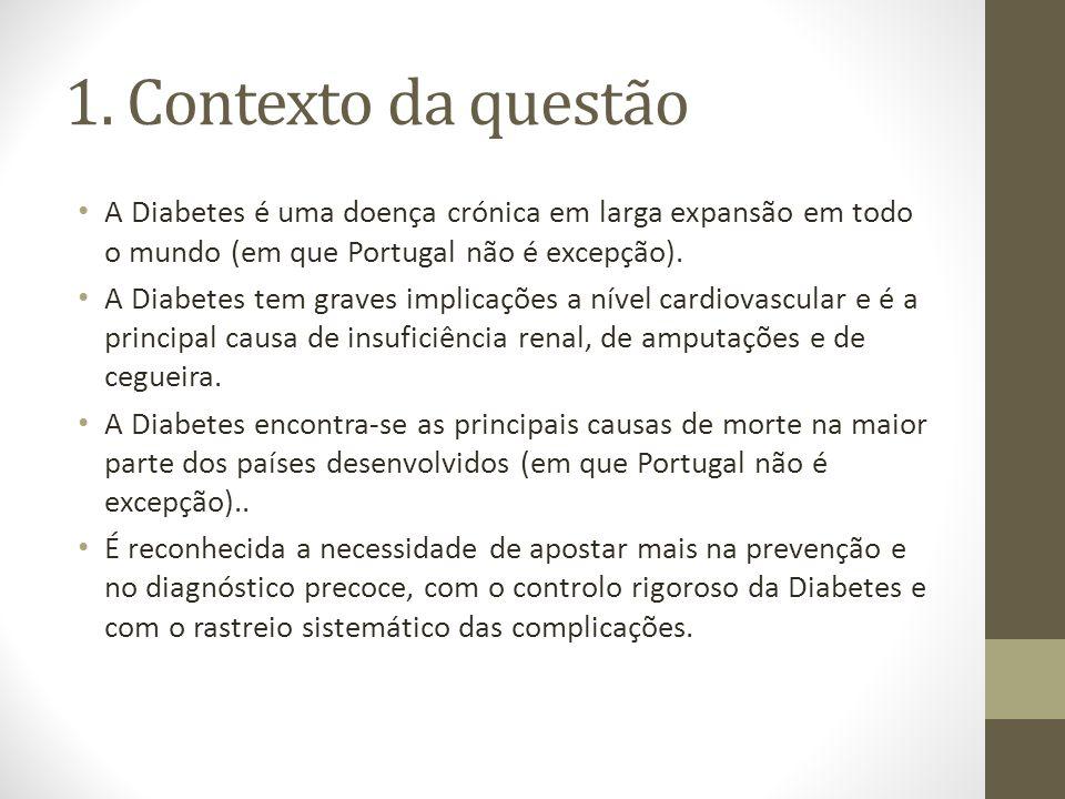 1. Contexto da questão A Diabetes é uma doença crónica em larga expansão em todo o mundo (em que Portugal não é excepção). A Diabetes tem graves impli