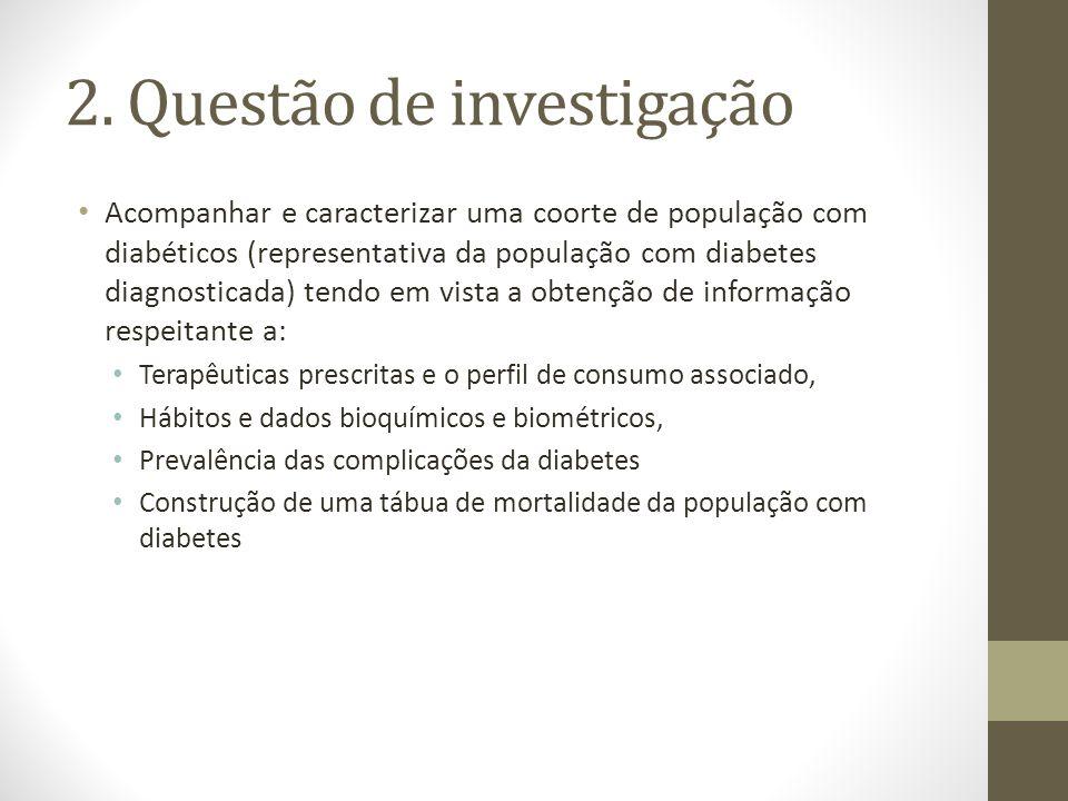 2. Questão de investigação Acompanhar e caracterizar uma coorte de população com diabéticos (representativa da população com diabetes diagnosticada) t