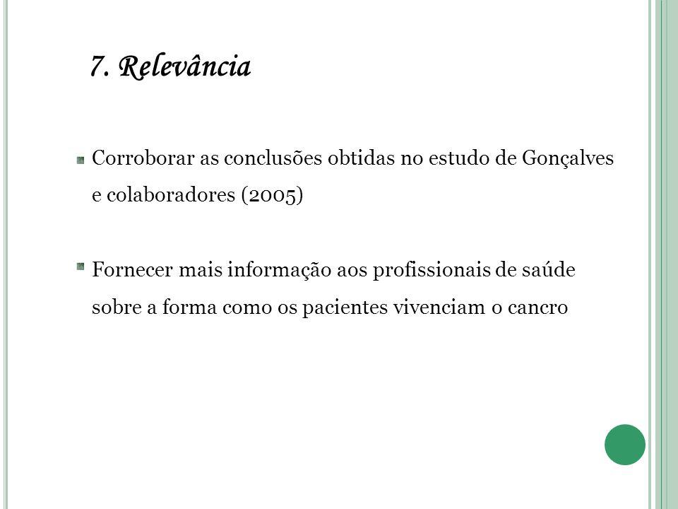 7. Relevância Corroborar as conclusões obtidas no estudo de Gonçalves e colaboradores (2005) Fornecer mais informação aos profissionais de saúde sobre